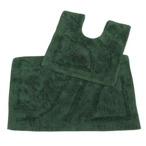 Homescapes 2-teiliges Badvorleger Set Badteppich 50 x 80 cm und WC Vorleger 50 x 55 cm dunkel grün, Badematten Set aus 100% Baumwolle in Hotel Qualität