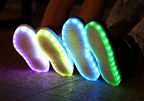 [Présents:petite serviette]JUNGLEST® - 7 Couleur Mode Unisexe Homme Femme Fille USB Charge LED Chaussures Lumière Lumineux Clignotants Chaussures de marche Haut-Dessus LED Ch c14