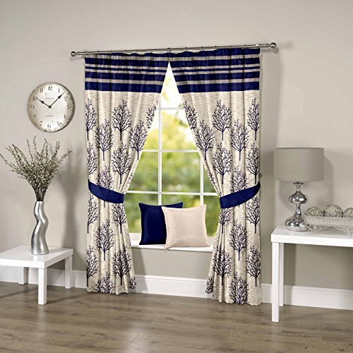 Threadmix Blue Polyester Door Curtain (7ft * 4ft, Pack of 2)