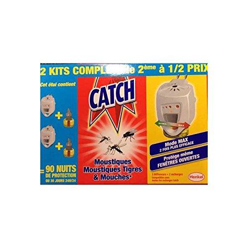 CATCH - Kit prise Anti moustiques et Mouches avec recharge liquide - Lot de 2