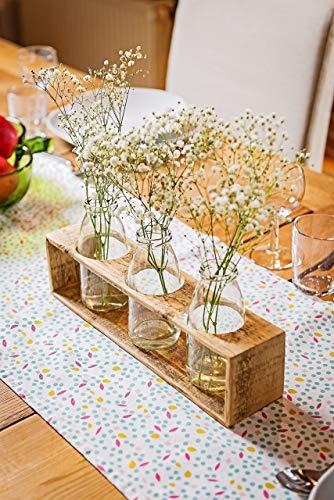 Vase aus Holz von Obstkiste mit 3 x Glasflasche, Herbstdeko