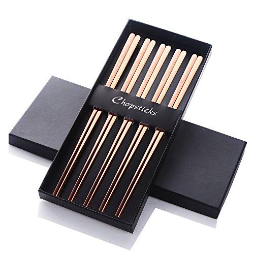 """Buyer Star 5 Paires Chopsticks coréennes Or Rose Acier Métal Baguettes réutilisables Longueur 9"""" Acier Inoxydable 304 18/10"""