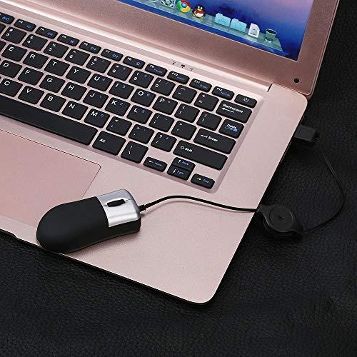 GMZRR Hochleistungs-Maus USPS Kompakte und stilvolle Maus Notebook Maus Desktop Mini einziehbare optische USB-Rad-Maus für leichtes und Flexibles Bedienen und Nicht steckenSchwarz -