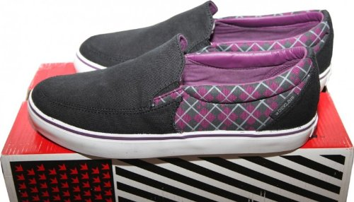 Dekline Skateboard Schuhe / Slip Ons / Slipper Captain Black/Purple - Slip On Shoes, Schuhgrösse:43 (Herren Schuhe Dekline)