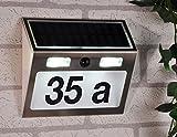 LED Solarhausnummer mit Bewegungsmelder - Edelstahl - mit komplettem Nummern- und Zahlenset - beleuchtete Hausnummer mit Sensor