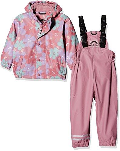 mikk-line Unisex Baby Jacke PU Rainwear-Set Regenhose und Regenjacke Wassersäule, Mehrfarbig (Dusty Rose 516), 140
