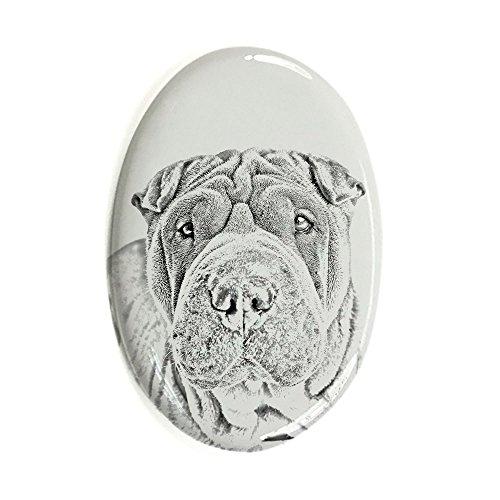 Shar Pei, Oval Grabstein aus Keramikfliesen mit einem Bild eines (Hund Grabsteine)