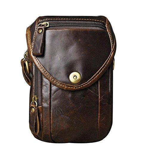 Genda 2Archer Mini Bolso de cuero de la Cintura, Bolsillo Ganchos, Bolso de la Correa (marrón claro)