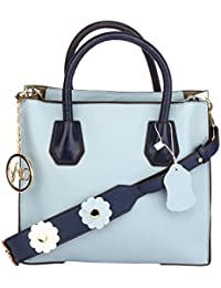 Valo Stylish Lightweight Leather Handbag With A Long Strap For Women   Purse Travel Shoulder Tote Bag Blue