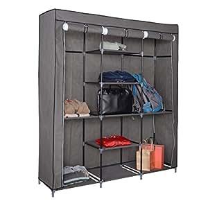 victual canvas kleiderschrank in grau von harima stoffkleiderschrank mit 3 t ren und. Black Bedroom Furniture Sets. Home Design Ideas