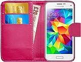 G-Shield Hülle für Samsung Galaxy S5 Mini Klapphülle mit Kartenfach und Magnetverschluß Kunstleder mit Displayschutzfolie und Stylus (G800F) - Rosa