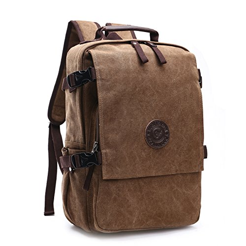 Rucksack Herren Laptop Rucksack Canvas Backpack Vintage Schulrucksack Daypacks für 15.6inch Zoll Laptop Work School Camping Outdoor Sport
