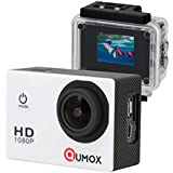 QUMOX Actioncam SJ4000, Action Sport Kamera Camera Waterproof, Full HD, 1080p Video, Helmkamera, Weiß