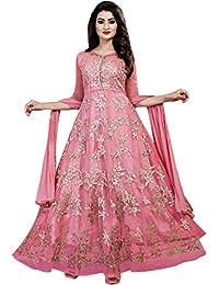90462224834 Aryan Fashion Womens Net Semi Stitched SALWAR SUIT (Fashion  Aryan  120 11090 Peach  Free Size