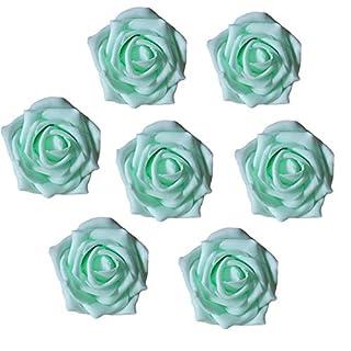 aoxintech Fake Rose Flower Köpfe Hochzeit Favor Aufsteller Party Bridal Dusche Dekorationen 50Stück lichtgrün