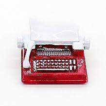 Odoria 1/12 Miniatura Antiguo Máquina de Escribir Rojo Decorativo para Casa de Muñecas