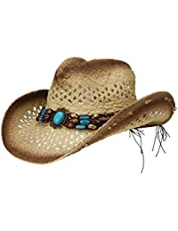 Eozy Adult Men Straw Cowboy Hat Sun Beads Decorates Hollow Out Floppy Caps Brown