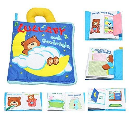 HUAIX Home Livre de Tissu Anglais Bear Good Night, Jouets éducatifs, 1 an, Enfant, activités tactiles.