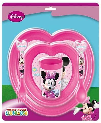 Mickey Mouse 734500 - Set aus zwei Teller, Trinkbecher und Besteckmit Minnie Form