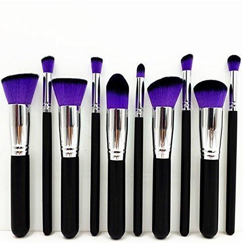 10 PCS Professionnel Kit de Pinceau maquillage Ombre à Paupière Blush Fondation Pinceau Poudre Fond de teint Anti-cerne Kit Pinceaux cheveux pourpre
