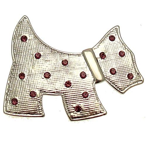Acosta Brooches - silberfarben mit Kristall Violett - Brosche Motiv Scottish Terrier - Geschenkverpackung