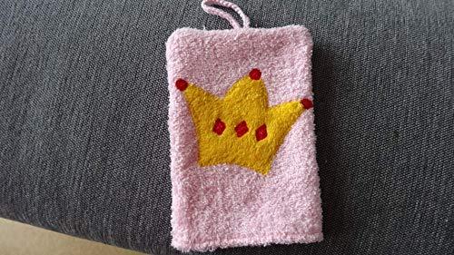 rosa Waschhandschuh -Krone- für die Prinzessin