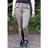 Gallop Oxford Check Pantalon d'équitation Femme, Sable, Taille 36