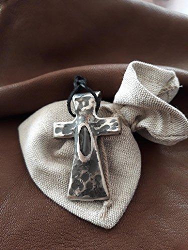 Stuff Box LV Kreuz von Hand Gemacht, geschmiedet, in Edelstahl mit Einem Kristall - Bergkristall