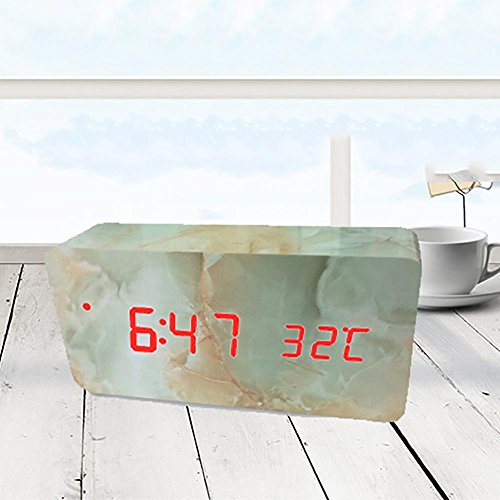 OOFAY-NAO USB Grüner Marmor Stimmenkontrolle Langes Dreieck LED Stummes Massivholz aufwachen Kreativer Wecker / Schüler Bett Leuchtend elektronisch Digitaluhr / Anzeige Temperatur/ Feuchtigkeit , Rotlicht , Quader