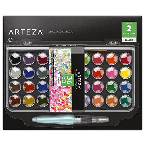 ARTEZA Acquerelli Professionali, Set di 36 Colori Classici in Pastiglie, Include 1 Penna ad Acqua con Punta a Pennello, Ideali sia per Artisti Esperti che per Imparare