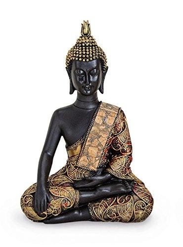 Thailand Buddha-statue (TEMPELWELT Deko Figur Buddha Akshobhya sitzend 21 cm groß aus Polystein schwarz Gold, Dhyani-Buddha Dekofigur Thai Buddha Statue Buddhafigur)