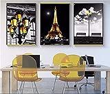 Mulmf Sin Marco 3 Piezas Pinturas En Lienzo Serie Ciudad Moderna Arte En Blanco Y Negro Torre De París Iluminación Dorada Pinturas Decorativas