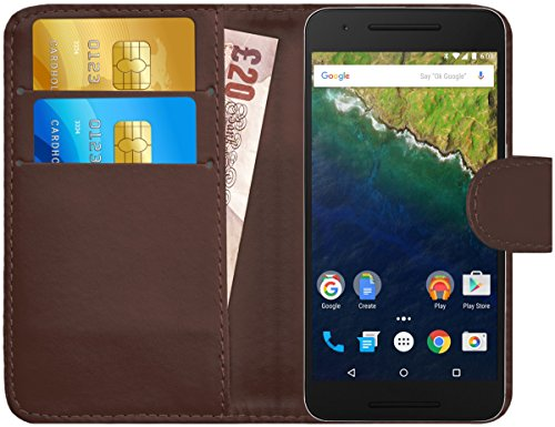 G-Shield Hülle für Google Nexus 6P Klapphülle mit Kartenfach - Braun