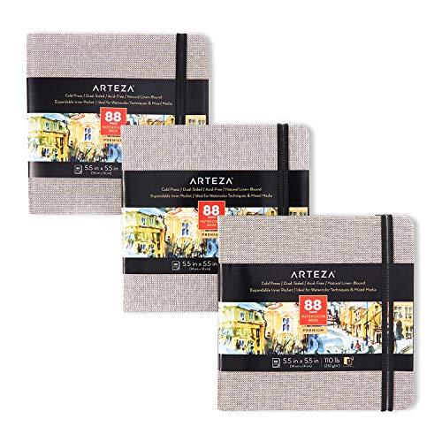 Arteza Aquarell-Skizzenbuch 14 x 14 cm, 3er-Pack mit jeweils 88 Seiten, 230 g/m² kaltgepresstes säurefreies Aquarellpapier, grauer Leineneinband, für Aquarell- und Mischtechnik
