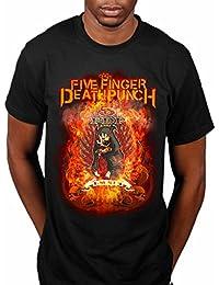 Oficial de Five Finger Death Punch Burn en Pecado Camiseta Rock Band Guerra es la Respuesta