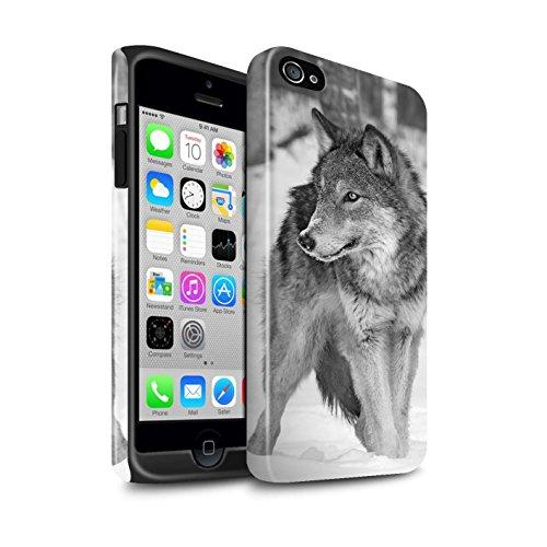 STUFF4 Glanz Harten Stoßfest Hülle / Case für Apple iPhone 7 / Faultier Muster / Zoo-Tiere Kollektion Wolf