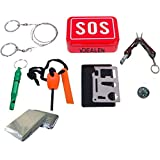 Vdealen SOS Outdoor Survival Kit Gear Set,including Outdoor Whistle, Fire Starter,Wire Saw ,Small Pliers,Compass,11 Function Multi Tool, Survival Blanket