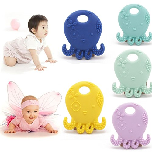 Mamimami Home Collana in silicone Octopus Massaggiagengive Massaggiagengive masticabili 5pc BPA sicuro e naturale per bebè dentizione collana Infermieristica