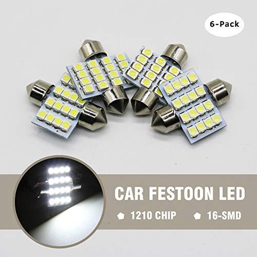 Preisvergleich Produktbild Ralbay 6 Pcs 31mm 1.25 Inch 1210 16SMD 12V Festoon Dome Light Bulbs De3175 De3021 De3022 3175, Color White