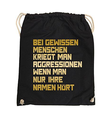 Comedy Bags - Bei gewissen Menschen kriegt man Aggressionen. - Turnbeutel - 37x46cm - Farbe: Schwarz / Silber Schwarz / Gold