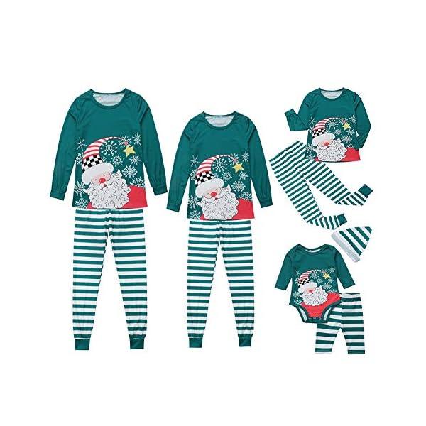 Miyanuby Mujere Hombre Niño Niña Bebé Pijamas Familiares de Navidad Pantalones de Rayas Conjunto de Pijama de pantalón… 1