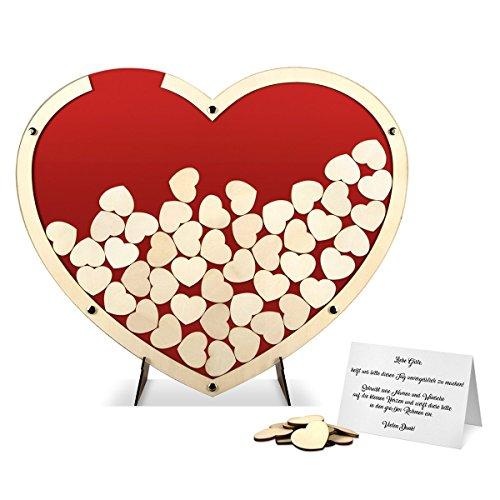 Hochzeit Gästebuch Alternative Hochzeitsgästebuch - Herz aus Holz Rot inkl. Holzherzchen