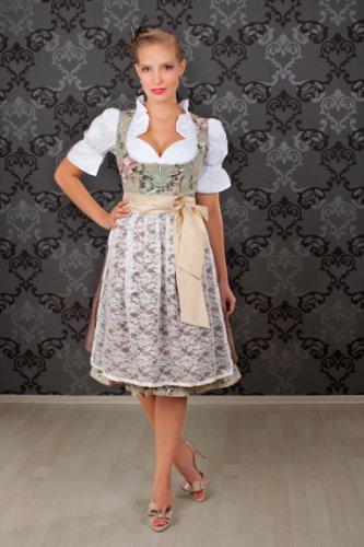 Edles. Traje tirolés de 3 piezas, largo medio, diseño de flores, incluye blusa y delantal, tallas 32a 52 marrón 48