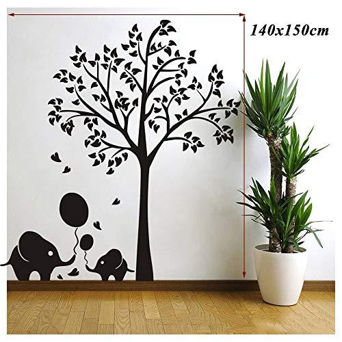 ndbilder PVC Big Tree Elephant Wandtattoos Klassenzimmer Dekorationen für Vorschule 140x150cm,Black ()