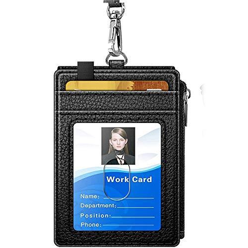 Ausweishülle mit Reißverschluss, Arae PU-Leder Ausweishülle mit Brieftasche, Kreditkartenfächern und abnehmbarem Trageband/Trageriemen (Reißverschluss-Vertikal, Schwarz) -