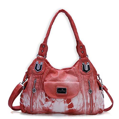 angel kiss Handtasche Hobo Damen Handtasche geräumig mehrere Taschen Street Damen Schultertasche Mode PU Tote Umhängetasche für Frauen, (Ak812-2z Coral), Large