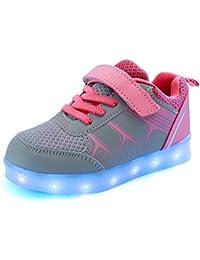 DoGeek Zapatos Led Deportivos Para Hombres Mujeres 7 Color USB Carga LED Luz Glow Luminosos Zappatillas Light Up USB Velcro Flashing Zapatillas