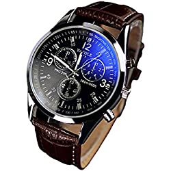 Mens Watches, Koly® Men's Luxury Fashion Faux Leather Blue Ray Glass Quartz Analog Wristwatches Brown