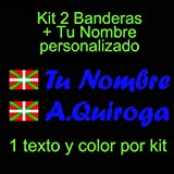 Vinilin Vinilo Bandera Pais Vasco (Ikurriña) + tu Nombre - Bici, Casco, Pala De Padel, Monopatin, Coche, Moto, etc. Kit de Dos Vinilos (Azul Oscuro)