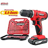 Apollo 18V Pro Cordless Combo Drill Driver with 1500 mAh Lithium-Ion Battery, 2 Gears, 19 Position Keyless Chuck, Variable Speed Switch & 30 Piece